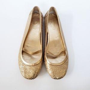 Coach Valari Gold Laser Cut Logo Ballet Flats